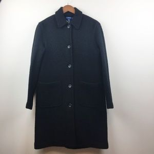 J. CREW Long Button Up Wool Trench Coat Black